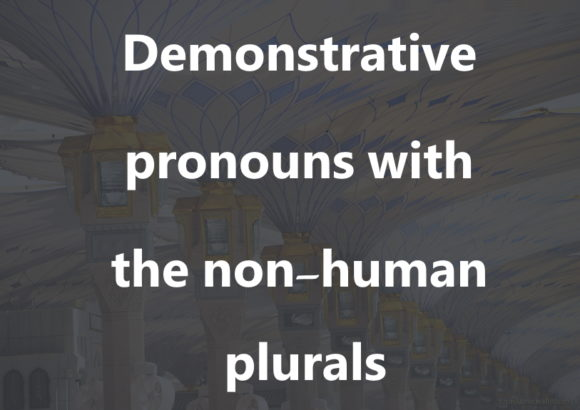 Demonstrative pronouns with the non-human plurals